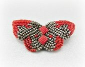 Antique Victorian Brooch Pin, Gray Red Butterfly Brooch, Red Glass Seed Bead and Cut Steel Beadwork Brooch, 1800s Art Nouveau Jewelry