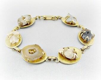 Vintage Agate Stone Bracelet, Sliced Agate Stone Bracelet, Earth Tone Agate Bracelet, Gold Oval Link Bracelet, 1970s Boho Jewelry