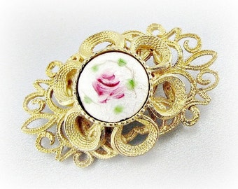 Vintage Gold Filigree Flower Brooch Pin, Guilloche Enamel Rose Brooch, 1950s Antique Costume Jewelry, Victorian Revival Jewelry