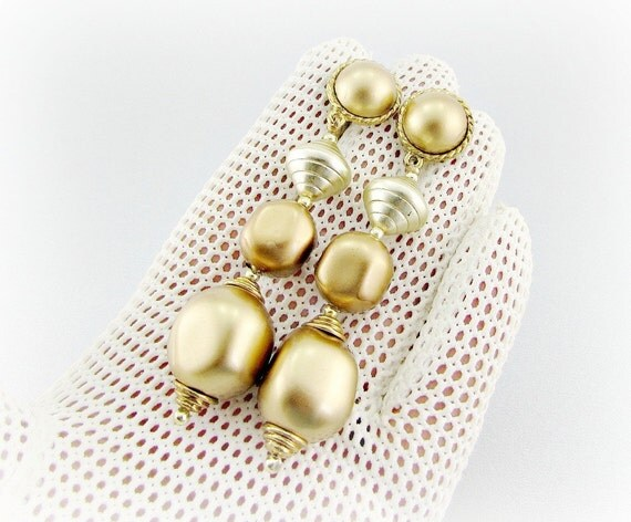 Vintage Statement Earrings, Big Large Gold Baroque Pearl Earrings, Long Pearl Drop Dangle Earrings, 1980s Runway Statement Jewelry