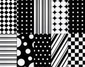 Black and White Scrapbook Paper, Printable Black and White paper, printable Black and White scrapbook paper, Black and White paper