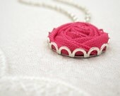 Pink Rose Necklace in Camellia - Fabric Flower Necklace - Bridesmaid Gift