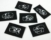 Mini Black Animal Skull Six Punk Patch Set