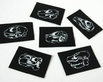 Mini Black Animal Skull Six Punk Patch Set