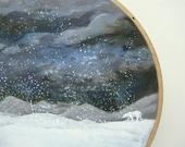 Winter Sky - Embroidery Hoop Art - Snowy Landscape Painting with Polar Bear