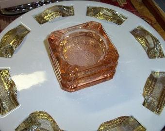 Pink Glass Coaster Ashtray Mariners Pattern Depression Stylings Set of Three