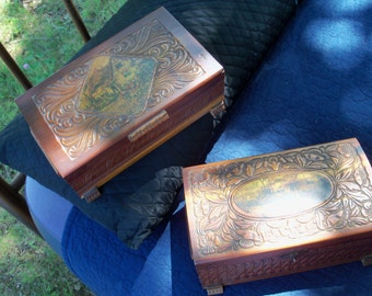 Carved Wooden Chests Turn Of Century Handmade His N Hers Bureau Chest Jewelry Box Tramp Art Folk Art One Of A Kind For Rustic Cabin