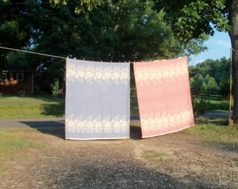 Camp Blanket Pair Lotus Flower Water Lily & Cattails One Periwinkle One Rose Mid Century Wool Bedding Girls Camp Dorm Rustic Camp Cottage