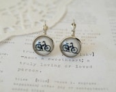 Silver Bicycle Dangle Earrings
