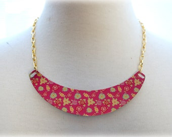 ON SALE  Crescent Red Floral Necklace