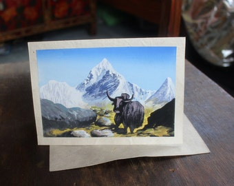 Hand Crafted Lokta Paper Himalayan Species Yak  Painted Special Occasion Card - PC300