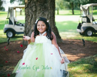 Ivory and Sage Flower girl Dresses--Customize