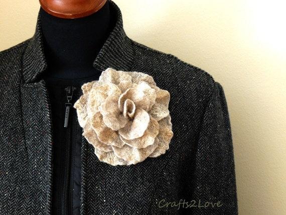 "Felted Flower Brooch Rose ""Chameleon""  natural beige oatmeal warm grey felted wool rose. Neutral warm accent."