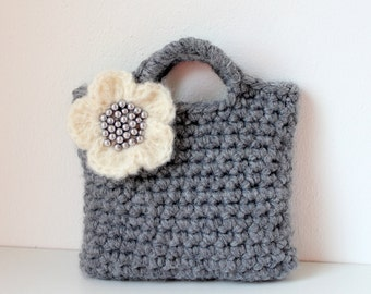 Little Girl Little Purse in Gray with ivory flower and beads