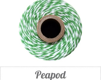 100% Cotton Twine Peapod Bakers Twine The Twinery 240 Yard Spool Peapod Green and White Striped Twine