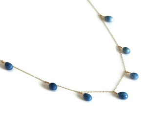 Long Amazonite Necklace, Delicate 14k Gold Chain, Honeycomb Faceted Blue Opal