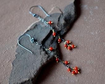 Mixed metal earrings, red coral earrings, oxidized silver earrings, long dangle earrings