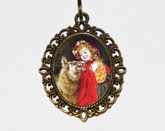 Red Riding Hood Necklace Oval Pendant