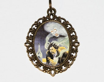 Absinthe Is Death Necklace, Green Fairy, Absinthe Jewelry, Oval Pendant