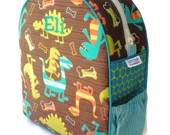 Toddler Backpack, Preschool Backpack, Boys Backpack, Quilted Backpack, Dinosaur Backpack, Blue Backpack, Tote Bag, Book Bag