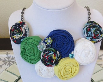Rosette Bib Necklace with Vintage Repurposed 1950s Earring Accent