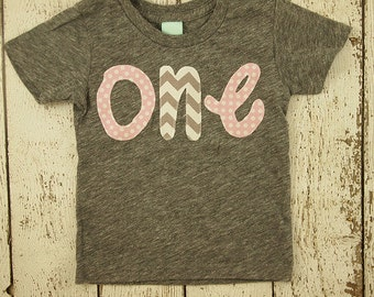 Girls Birthday Shirt light pink polka dot and grey chevron pink party first birthday shirt second third birthday Princess Birthday
