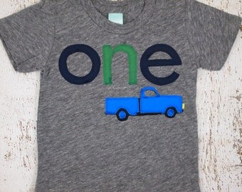 boys truck shirt ONE birthday Little Blue Truck First