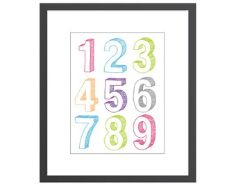 Numbers sign art print with sketch lettering for baby girls nursery or kids playroom