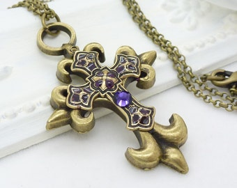 Purple gothic cross necklace, big antique bronze purple cross necklace, dark violet purple gothic jewelry, handpainted cross gothic necklace