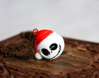 Christmas Ghost Necklace Halloween Skull Bell Necklace Santa Skeleton Necklace Halloween Jewelry - N293