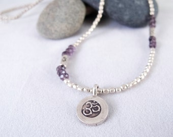 Silver-plated brass beads with amethyst chinese crystal & OM Symbol Necklace