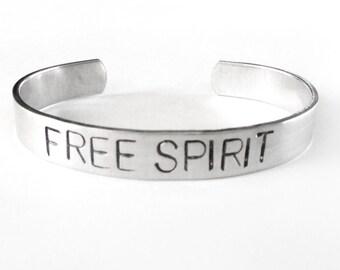 hand stamped bracelet - bird jewelry, free spirit, silver cuff - bohemian boho gypsy jewelry, stacking bracelet, handmade jewelry