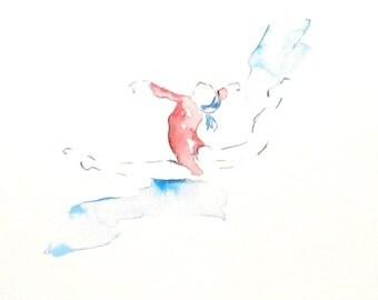 Gymnastics, Gymnast, Watercolor Dancer, Gymnastics Art, Girls Room Decor