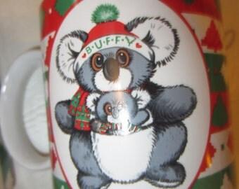 Vintage 1980s BUFFUMS BUFFY Big Eye Christmas Santa Koala with Joey Applause Coffee cup Xmas kitschy cute