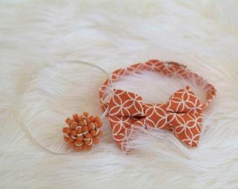 Newborn Bow Tie & Baby Headband, Orange and Cream Bow Tie, Matching Felt Flower Headband, Twin Set, Newborn Photography Prop,  Ready To Ship