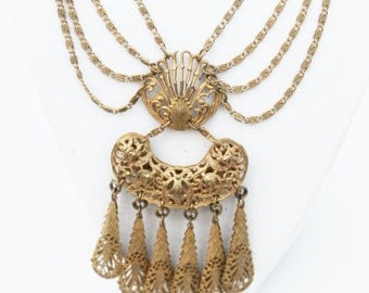 Victorian Filigree Festoon Bib Runway Necklace-Vintage, Brass/ Gold Tone