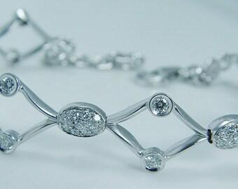 Authentic Luca Carati 18K White Gold .70ct Diamond Bracelet Designer Jewelry