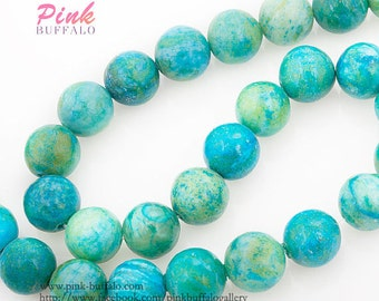 chrysocolla round beads 12mm blue green yellow