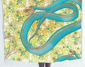 Turquoise snake printed pure heavy top quality silk twill giant scarf. shawl. 130CM X 13àCM made in FRance