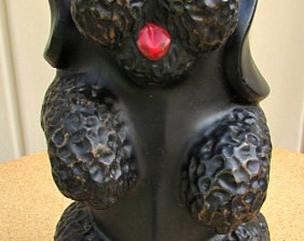 vintage 50s black ceramic poodle bank figurine large treasure craft