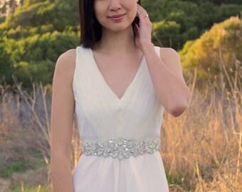 JENNA - Rhinestone and Pearl Beaded Bridal Sash, Wedding Belt