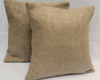 """Fully Lined 20"""" x 20"""" Set of 2 Burlap Pillow Rustic Chic Home Decor Decorative Burlap Pillow Covers"""
