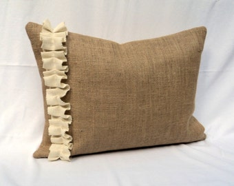 "Burlap Pillow Cover in 16"" up to 26"" Casually Chic and Rustic Home Decor"