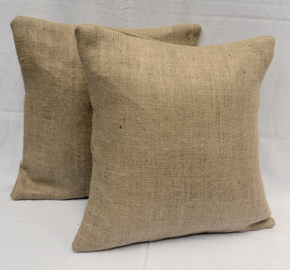 "Fully Lined 20"" x 20"" Set of 2 Burlap Pillow Rustic Chic Home Decor Decorative Burlap Pillow Covers"