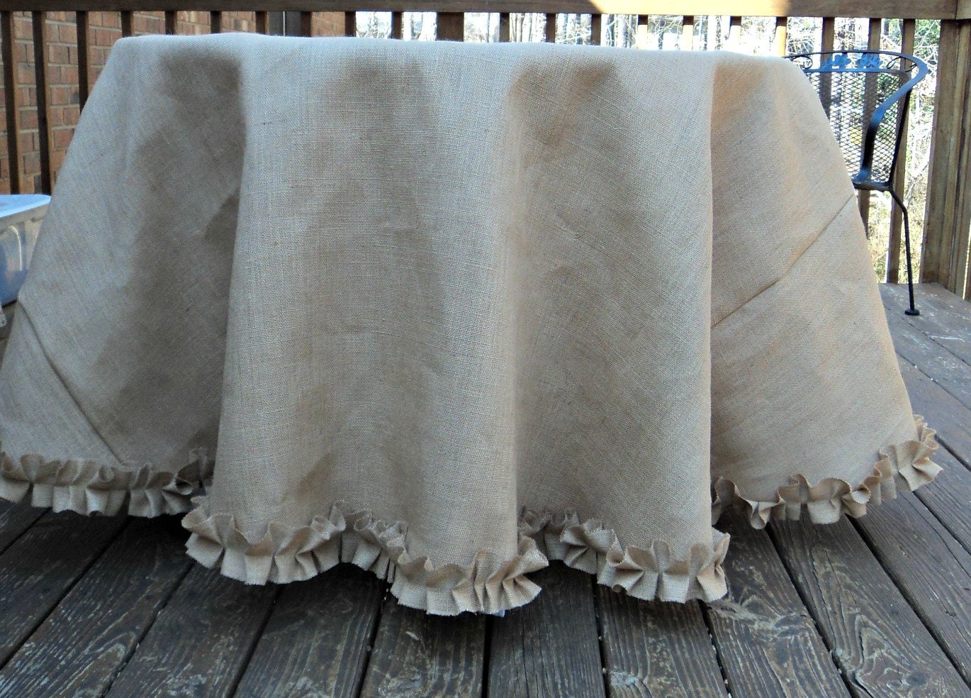 60 round burlap tablecloth with ruffles rustic by for 60 burlap