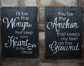 Large Wood Sign - I'll be the Wings You be the Anchor - Farmhouse Sign - Subway Sign - Anchor Sign - Love Sign - Nautical Sign