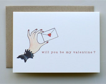 Will You Be My Valentine? - valentines day card - hand holding envelope - handmade card - paper goods - valentine