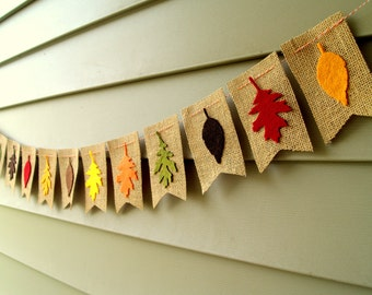SALE Fall Felt Leaves on Burlap Bunting