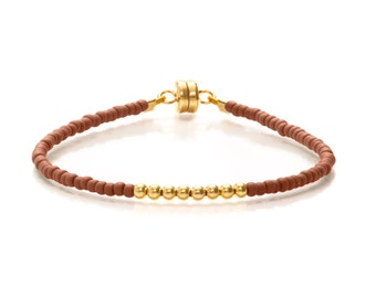 Delicate Brick Brown & Small Gold Beaded Friendship Bracelet