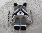 Crochet Raccoon Hat and Mittens - Wildlife Animals - Photo Prop - Available in Baby to Toddler Size - Any Color Combination